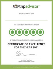 TripAdvisor Certificate of Excellence - 2011